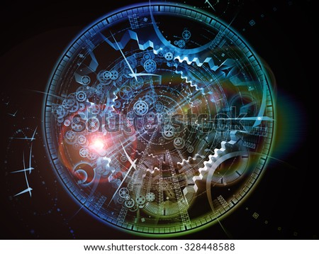Fractal Time series. Creative arrangement of clock and fractal elements as a concept metaphor on subject of time, science and moder technology - stock photo