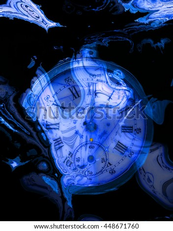 Fractal Time series on black background. Blue fractal clockwork. Digital artwork for creative graphic design.