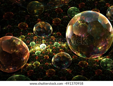 Fractal  Transparent Shining  Sphere Background   - Fractal Art