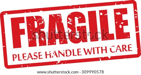 Fragile And Please Handle With Care Rubber Stamp On White Background. - stock photo