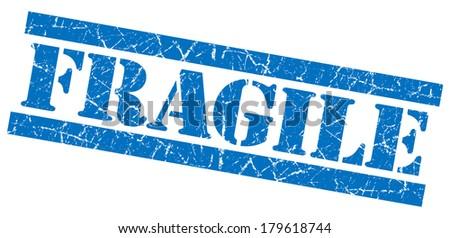 Fragile blue grunge stamp - stock photo