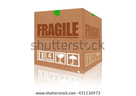 Fragile cardboard box 3d rendering isolated on white background