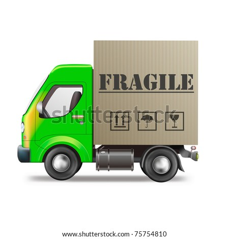 fragile delivery handle with care delivery truck with cardboard box breakable package or parcel sending careful transportation