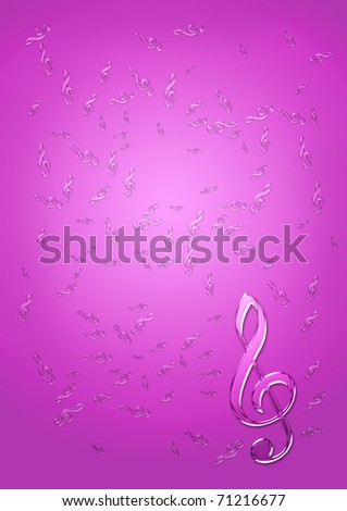 Fragile glass treble clefs - abstract music background - stock photo