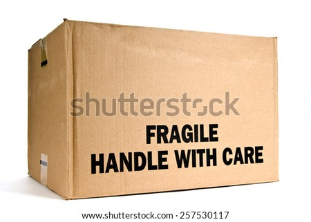 Fragile Handle With Care Box Isolated On White