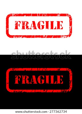 fragile stamp style sign printed on black and white background - stock photo