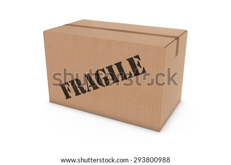 FRAGILE Stenciled Cardboard Box Isolated on White Background