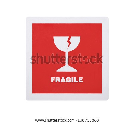 Fragile sticker isolated on white background with clipping path - stock photo