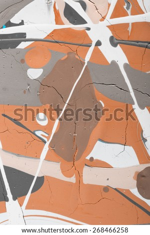 Fragment abstract modern painting in warm colors. Background with expressive splashes of paint. Acrylic on cardboard. Old chapped and dusty picture - stock photo