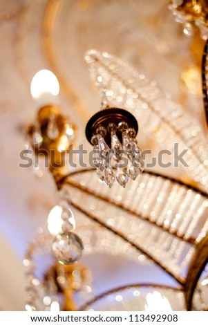 fragment beautiful chandeliers baroque palace interior - stock photo