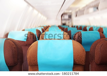 fragment inside the interior of the plane - stock photo