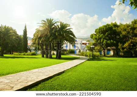 Fragment like  view of nice European summer park - stock photo