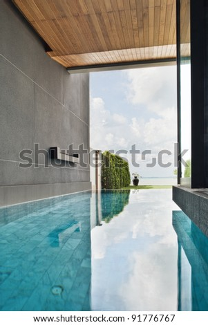fragment like view of nice tropical pool  in summer environment - stock photo