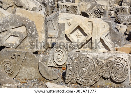 Fragment of a bas-relief in ancient city Ephesus, Turkey.