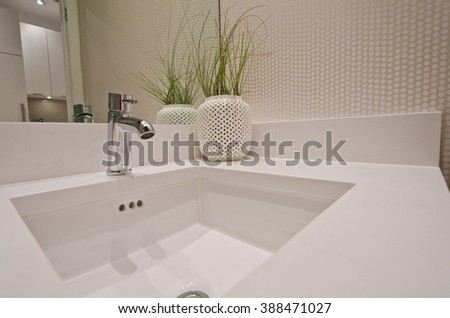 Fragment  of a bathroom, washroom with washbasin (sink) and the vase as a decorative element on the counter. Interior design.