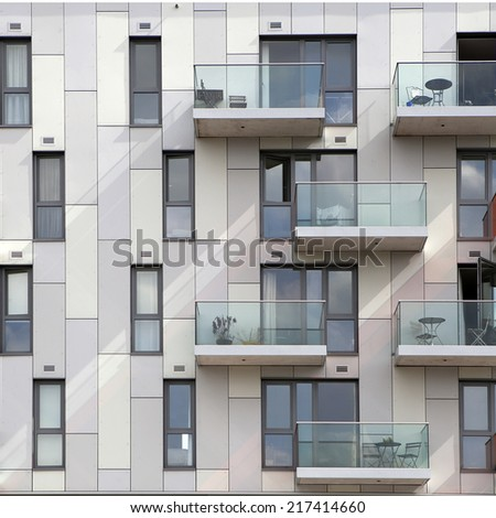 fragment of a facade of a building - stock photo