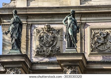 Fragment of a fountain Saint-Michel (architect Gabriel Davioud, 1858 - 1860), Paris, France. Popular architectural historical landmark. - stock photo