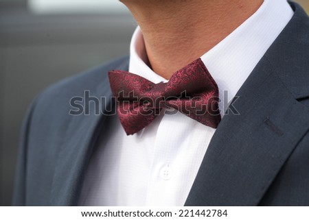 fragment of a man's suit. the bow tie