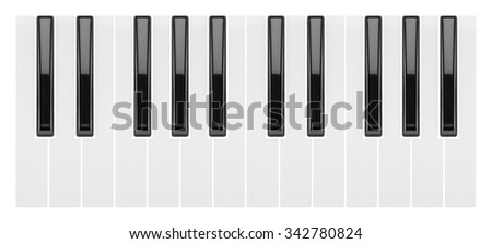 fragment of a piano keyboard isolated on white background                       - stock photo