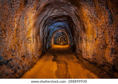 fragment of a underground tunnel - stock photo