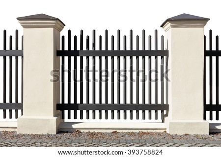 Fragment of a vintage city fence from the metal pointed rods and the brick plastered columns. Sunny day. Isolated - stock photo