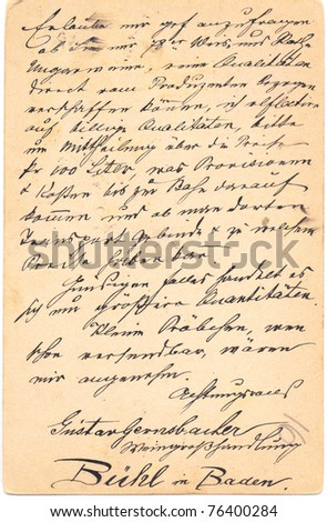 Fragment of an old handwritten letter. It was written in 1878. Rich stain and paper details. Can be used for background - stock photo