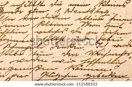 Fragment of an old handwritten letter, written in German. Can be used for background.