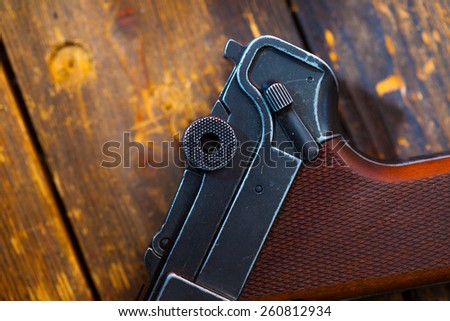 fragment of an old Parabellum pistol. Luger close up - stock photo