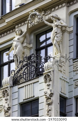 Fragment of Art Nouveau architecture style of Riga city - stock photo