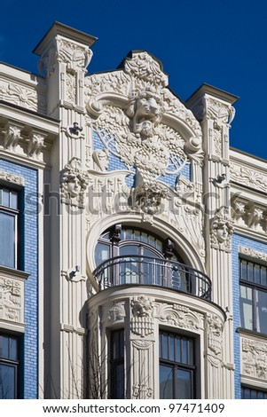 Fragment of Art Nouveau architecture style of Riga city (Jugenstil).