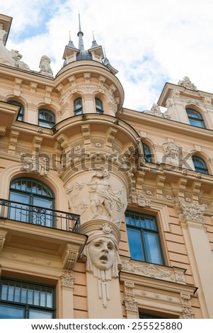 Fragment of Art Nouveau style (Jugenstil) on a building, Riga, Latvia. - stock photo