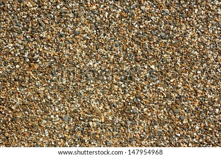 Fragment of beach pebble with small colored pebbles, stones and shells detail close-up in bright sunlight - stock photo