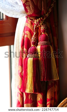 Fragment of beautiful curtain - stock photo