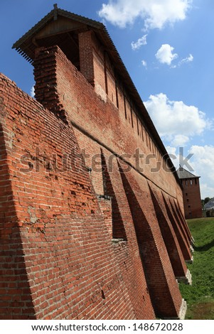 Fragment of brick wall of Kolomna Kremlin in Russia - stock photo
