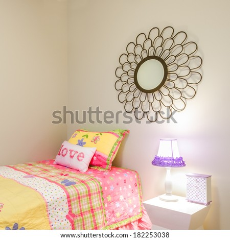 Fragment of children's girl's pink princess bedroom playroom. Interior design. - stock photo