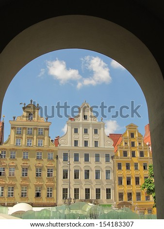 fragment of colorful facade of old historic buildings in Wroclaw, Poland