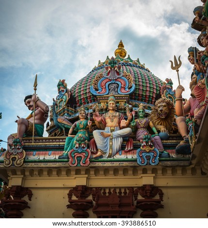 Fragment of decorations of the Hindu temple in Singapore