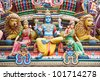 Fragment of decorations of the Hindu temple Sri Mariamman in Singapore - stock photo