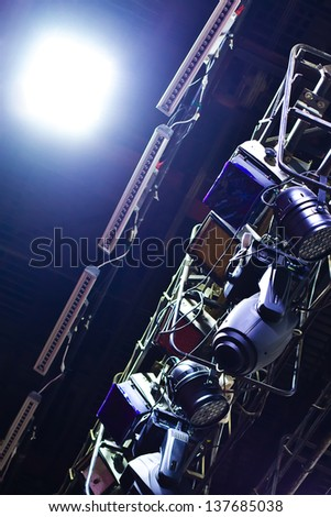 Fragment of equipment for stage lighting - stock photo