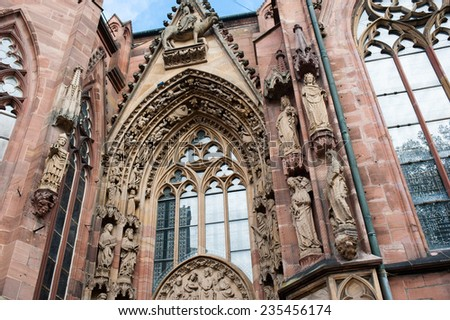 Fragment of exterior of Worms Dom Cathedral in Worms, Germany - stock photo