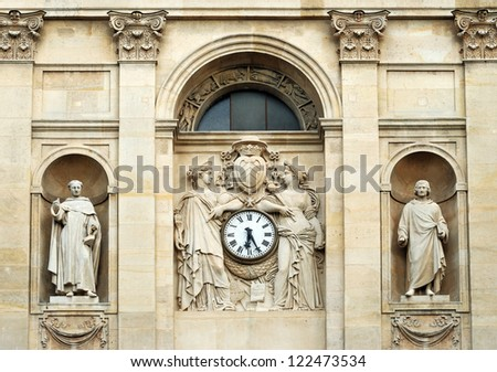 Fragment of facade of the Chapelle de la Sorbonne in Paris, France. - stock photo