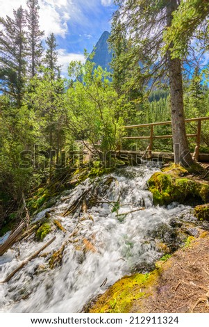 Fragment of Grassi Lakes trail in Banff, Alberta, Canada - stock photo