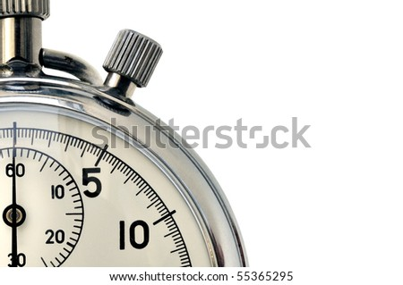 Fragment of hand mechanical stopwatch against white background - stock photo