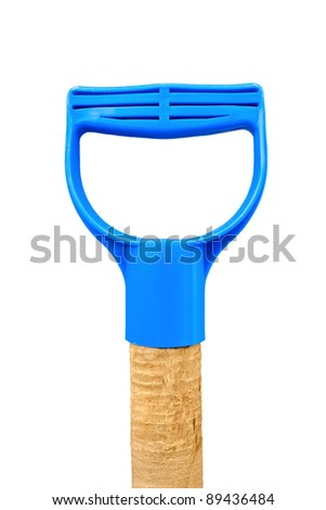 Fragment of handgrip of garden instrument with plastic handle isolated on white background - stock photo