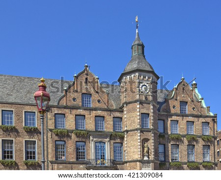 Fragment of historical City hall (Rathaus) in Dusseldorf, Germany