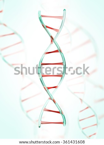 fragment of human DNA molecule, 3d illustration