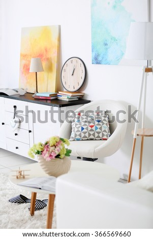 Fragment of interior in living room - stock photo