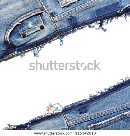 Fragment of jeans, isolated on white background - stock photo