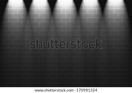 Fragment of light on grey wall - stock photo