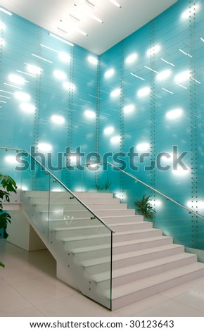 Fragment of modern interior in trading centre - stock photo